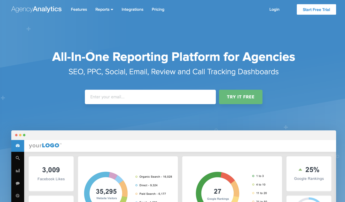Client dashboard tools: AgencyAnalytics