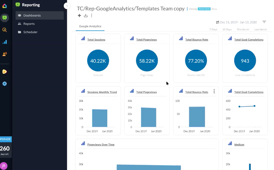 Client dashboard tools: ReportGarden Template