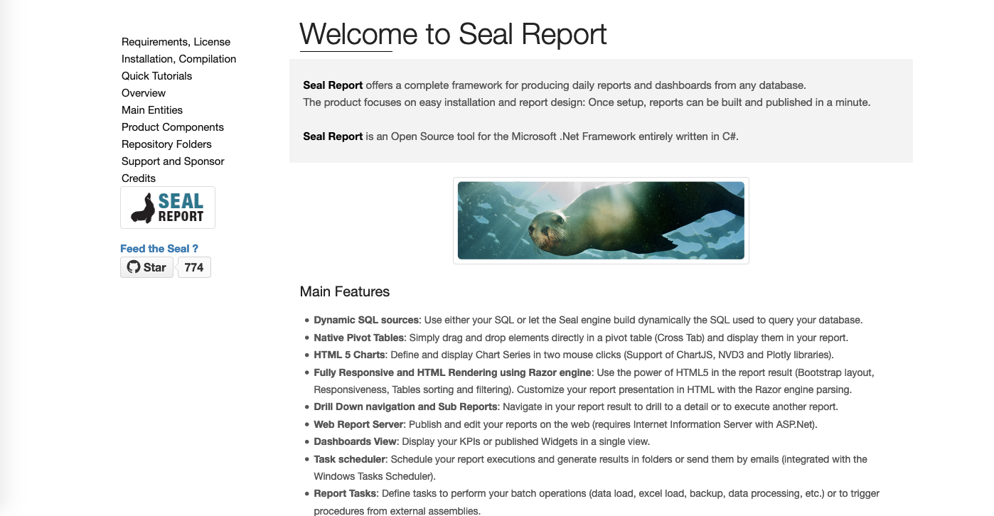Client dashboard tools: Seal Report